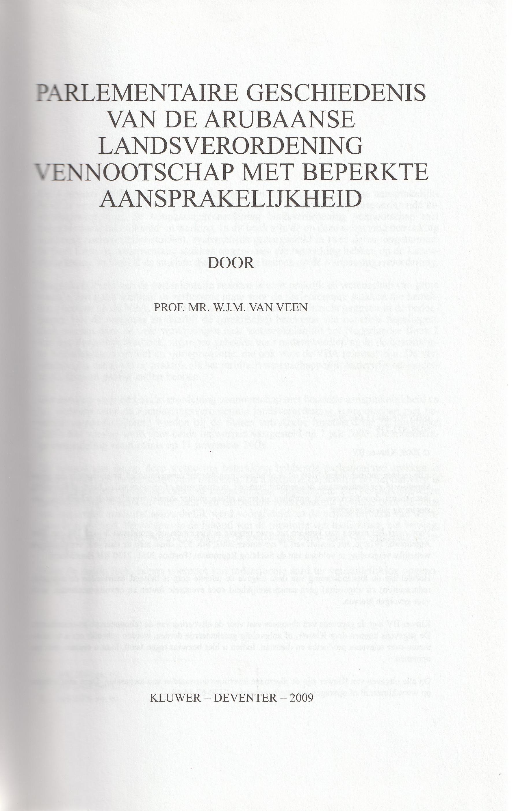 Parlementaire Geschiedenis van de Arubaanse Landsverordening vennootschap met beperkte aansprakelijkheid