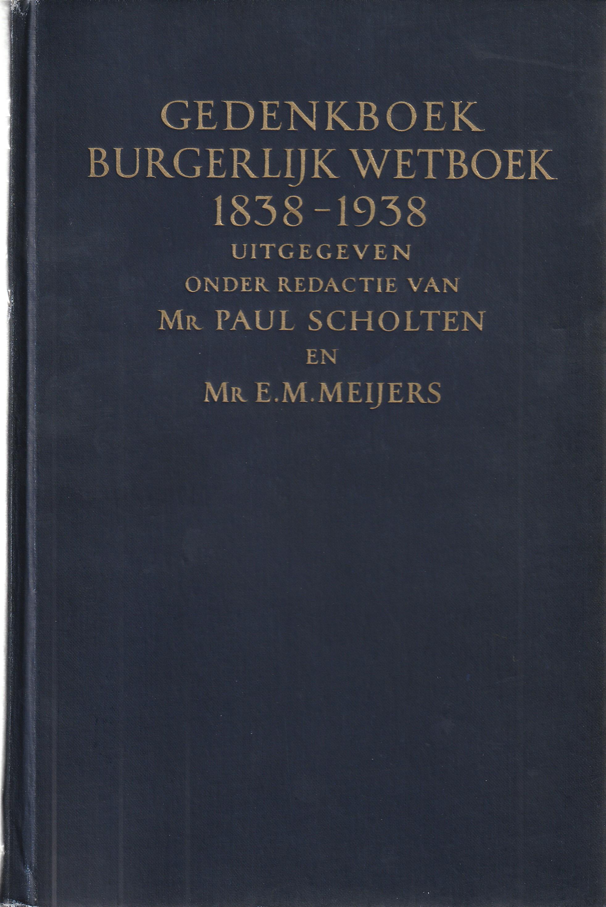 Gedenkboek Burgerlijk Wetboek 1838-1938