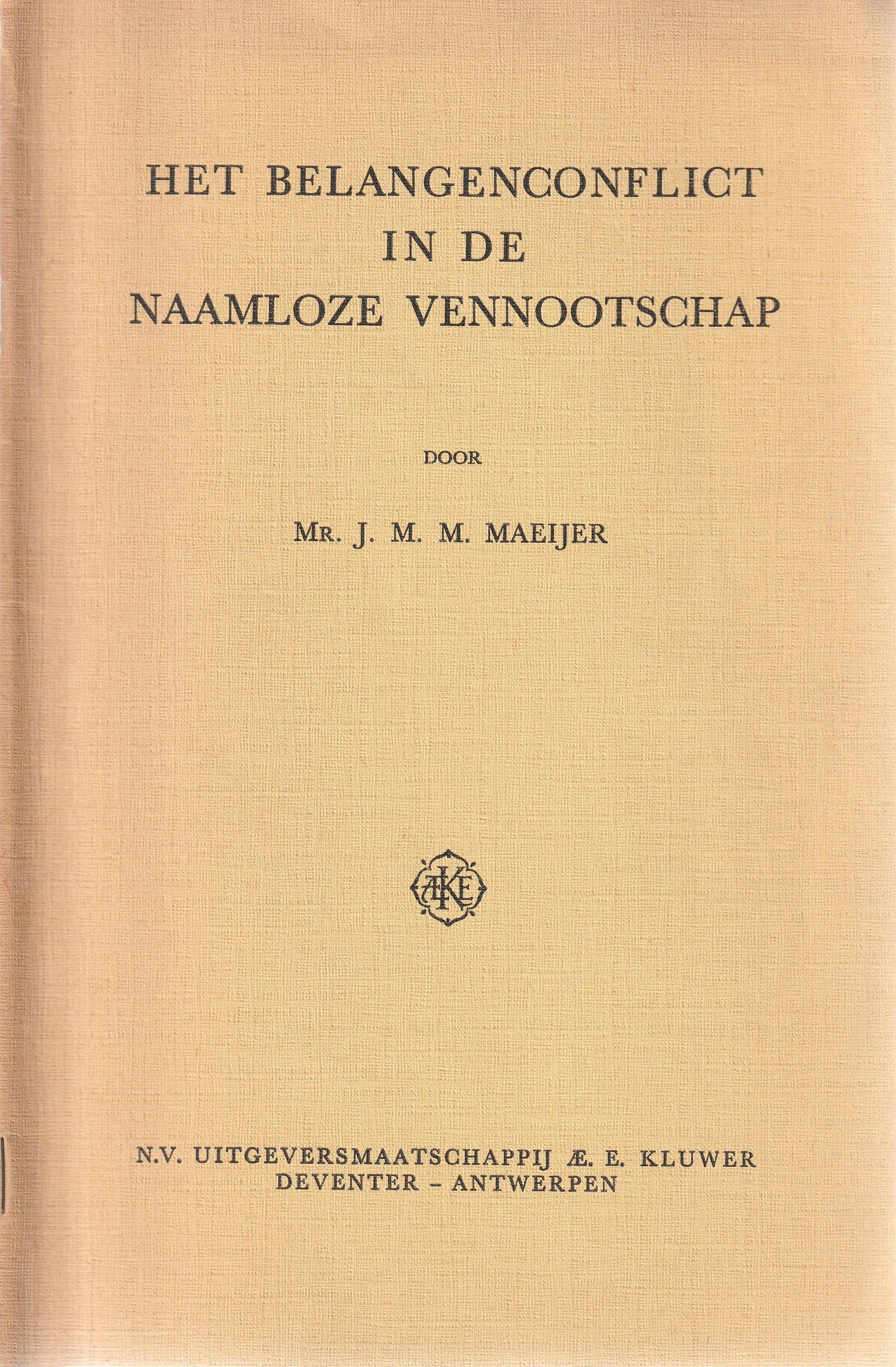 Het belangenconflict in de naamloze vennootschap - Rede 1964