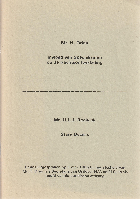 Invloed van specialismen op de rechtsontwikkeling / Stare decisis - Redes 1986