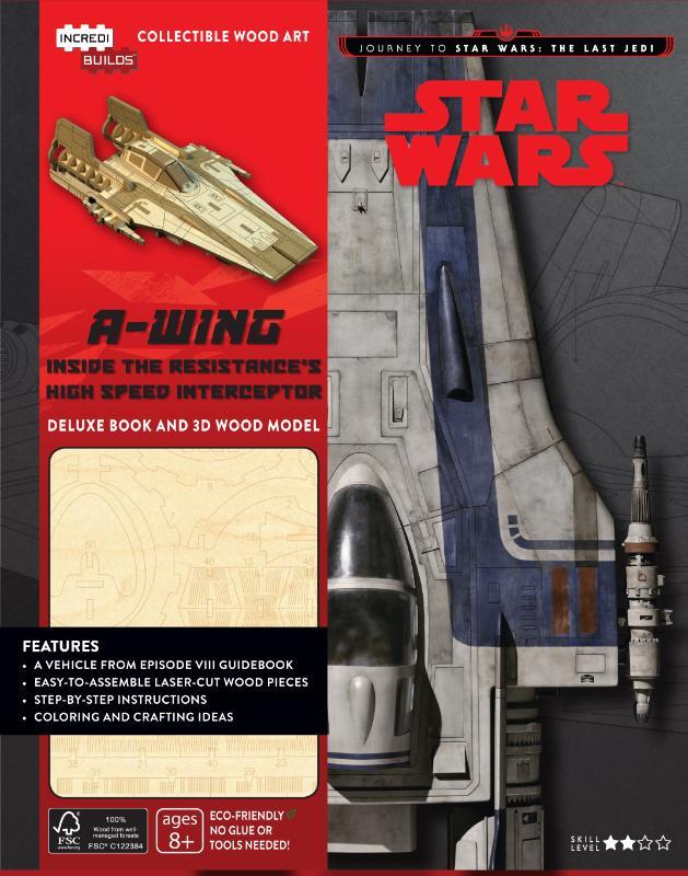 A-Wing, boek met houten bouwplaat, journey to Star Wars, The Last Jedi