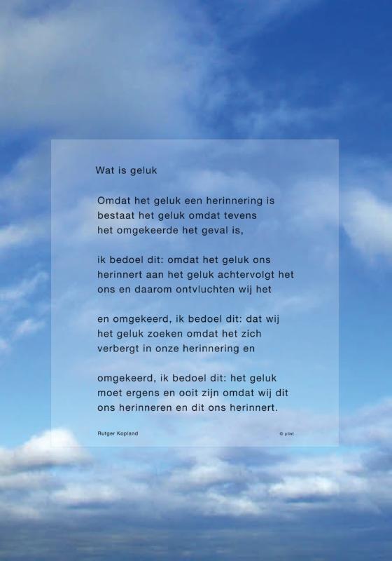 Plint raamgedicht Wat is geluk Rutger Kopland