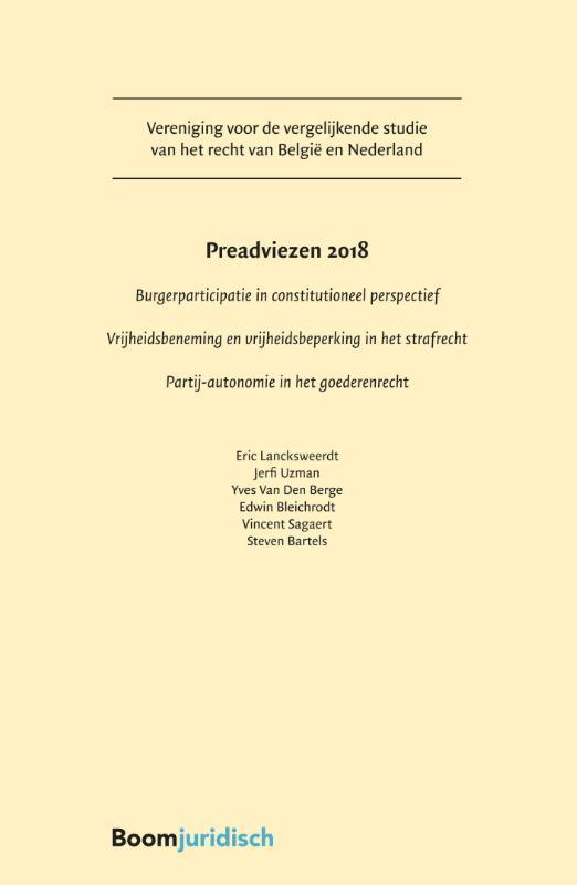Preadviezen Vereniging voor de vergelijkende studie van het recht van België en Nederland