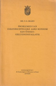 Problemen van zakenrechtelijke aard rondom een stereo-geluidsinstallatie - Rede 1974