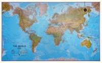 Wereldkaart Natuurkundig Maps International - Groot
