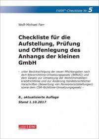 Checkliste 5 für die Aufstellung, Prüfung und Offenlegung des Anhangs der kleinen GmbH